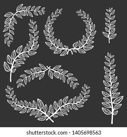 Leave laurel set. Vector hand drawn illustration. Metallic banch