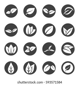 leave leaf icon set vector
