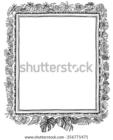 Leave Nature Frame Pen Hand Write Stock Vector Royalty Free
