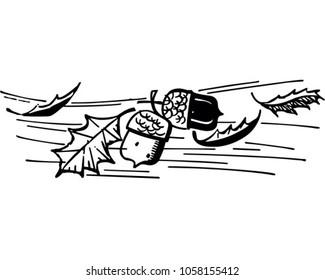 Leaves And Acorns - Retro Clip Art Illustration