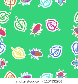Leaves, beetles, doodles,dotted lines, labels seamless  pattern. Hand drawn.
