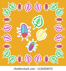 Leaves, beetles, doodles,dotted lines, labels pattern. Hand drawn.
