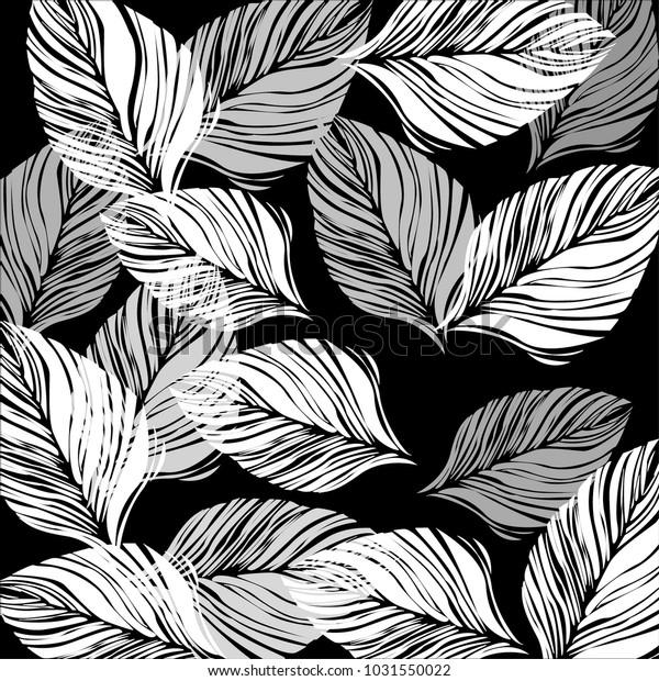 Leaves Black White Background Design Wallpaper Stock Vector Royalty Free 1031550022