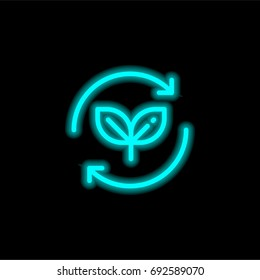 Leaves blue glowing neon ui ux icon. Glowing sign logo vector