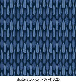 leaves/ blue jean pattern