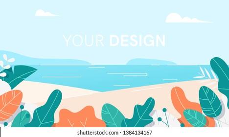 Leaves border set. Landscape background. Flat cartoon style. Plants, flowers, bushes. Modern trendy minimalistic and simple design. Bright colorful summer, spring background. Vector illustration.