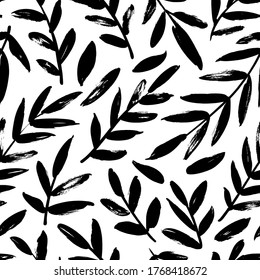 Leaves and branches vector seamless pattern. Black brush leaves and twigs. Olive branch modern ornament. Black ink texture with foliage. Hand drawn eucalyptus, laurel twig. Abstract plant motif