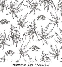 Leaves of cannabis plant used in alternative medicine, seamless pattern. Monochrome sketch outline of hashish, narcotic or prohibited herb. Marijuana foliage, ganja weed, vector in flat style