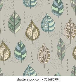 Leaves design wallpaper vector seamless pattern. Decorative, wrap paper.