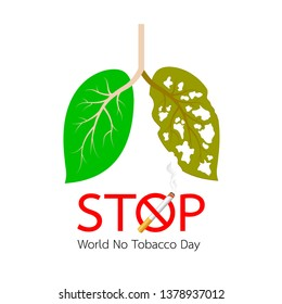 Leaves designed like human lung. unhealthy lung awareness. Stop smoking, world no tobacco day. Vector illustration isolated on white background.