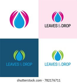 Leaves & Drop Logo - Vector Illustration. A logo featuring a circular icon consisted of a water drop and two leaves.