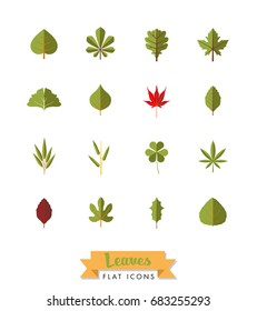 Leaves flat design isolated icons collection