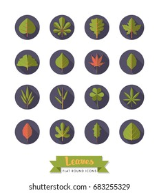 Leaves flat design long shadow round icons collection