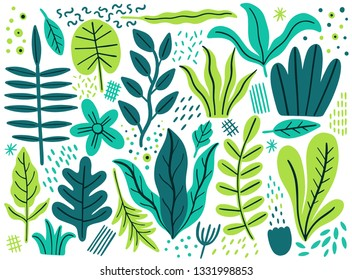 Leaves flat set. Tropical plants isolated on white background. Nature simple green floral. Minimal style fantasy. Vector illustration.
