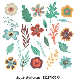 Leaves, flovers, bushes and hedges set. Hand drawn floral elements. Vector nature items isolated. Cartoon botanical illustration.