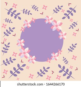 Leaves and Flowers decoration with purple circle on pink background. Copy space. Women's day and Mather's day concept. Vector illustration.