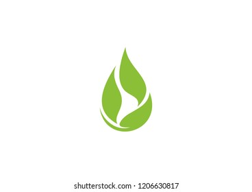 leaves form a drop, this logo is suitable for the ecological industry or the business of extracting oil or essences from plants