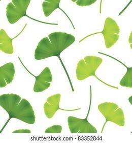 Leaves of ginkgo bilboa. Seamless vector illustration.
