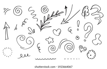 leaves, hearts, abstract, ribbons, arrows and other elements in hand drawn styles for concept designs. Doodle illustration. Vector template for decoration