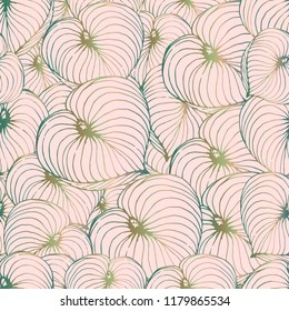 The leaves hosta are randomly placed. Seamless vector texture of the leaves of the plant hosts. For printing on paper and fabric. Print in a hand-made style on a pink background