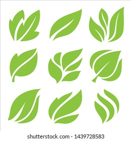 leaves icon set, leaf design for natural and green logo concept.