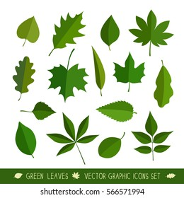 Leaves icon set. vector illustration. isolated on white background.