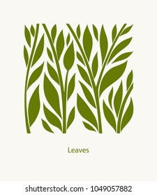 Leaves Label abstract design. Square icon. Beautiful Logo Garden Company.