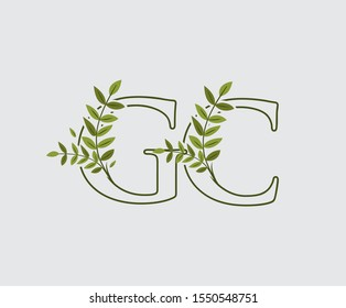Leaves Letter G, C and GC Green Vintage Floral Logo Icon, overlapping monogram logo. Simple Swirl Green Leaves Letter Logo Icon.