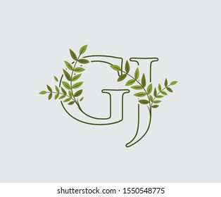 Leaves Letter G, J and GJ Green Vintage Floral Logo Icon, overlapping monogram logo. Simple Swirl Green Leaves Letter Logo Icon.