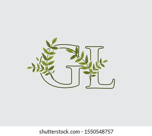 Leaves Letter G, L and GL Green Vintage Floral Logo Icon, overlapping monogram logo. Simple Swirl Green Leaves Letter Logo Icon.