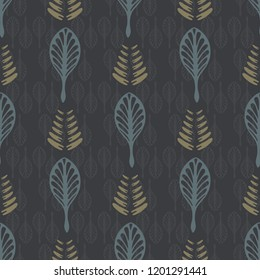 Leaves Line Art Seamless Vector Pattern, Hand Drawn Leaf Outline Illustration for Trendy Home Decor, Masculine Fashion Print, Elegant Wallpaper, Textile, Paper Goods. Muted Nature Texture Background.