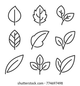 Leaves line vector icon set