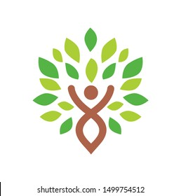 leaves logo design template, with people symbol inside