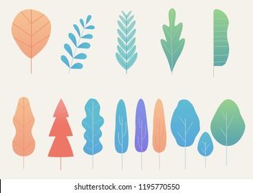 Leaves model ,fantasy leaves background template vector illustration flat design