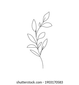 Leaves One Line Drawing. Continuous Line of Simple Flower Illustration. Abstract Contemporary Botanical Design Template for Minimalist Covers, t-Shirt Print, Postcard, Banner etc. Vector EPS 10.