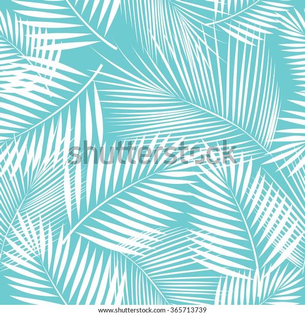 Листья пальмы. Бесшовный рисунок. Векторный фон.