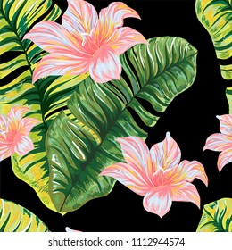 Leaves of a palm tree with tropical flowers. Vector pattern.