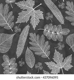 Leaves seamless pattern background. Vector illustration.