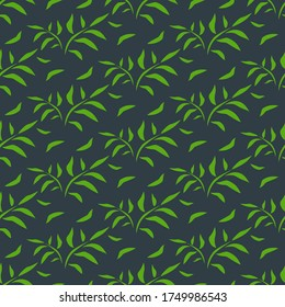 Leaves seamless pattern. Bamboo green leaf floral background silhouette. Graphics palm leaves on dark background. For web page backgrounds, surface textures, textile. Vector illustration