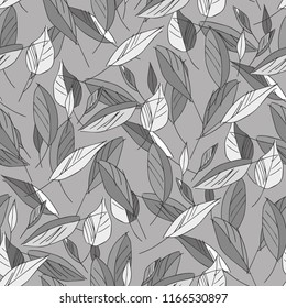 Leaves Seamless Pattern. Hand Drawn Illustration. Vector Background.