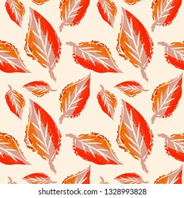 Leaves Seamless Pattern. Hand Drawn Background. Nature Design Template.