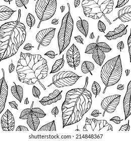 Leaves. Seamless pattern with leaf. Hand Drawn vector pattern.
