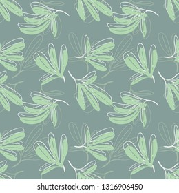 Leaves Seamless Pattern. Vector Background of Doodle Elements. Pastel Colored Hand Drawn Illustration.