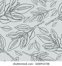Leaves seamless pattern Vector botanical illustration Floral background Luxury elegant pattern