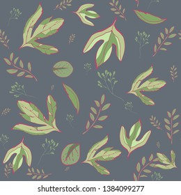 Leaves Seamless Pattern. Vector seamless pattern with graphic leaves for textile print,fabric, wallpaper, page fill, wrapping paper, web design. floral backdrop. Hand drawn. green background.