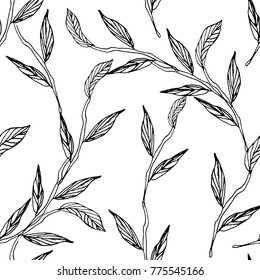 Leaves seamless pattern. Vector hand drawn leaf graphic, design textile, fabric repeating background design for all web and print purposes