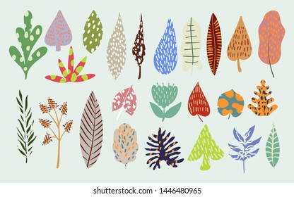 Leaves set. Different leaves for design. Abstract botanical element collection. Vector EPS 10.