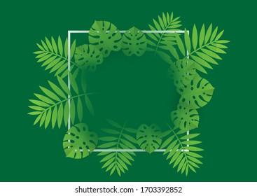 Leaves set paper cut style.