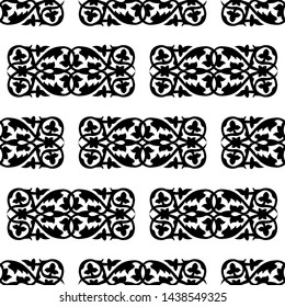 Leaves and Spirals of a Plant - Indian Traditional and Cultural Scroll Saw, Intarsia, T Shirt design, Wall Sticker, Tattoo or Embossing art is in Seamless Pattern