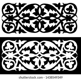 Leaves and Spirals of a Plant - Indian Traditional and Cultural Scroll Saw, Intarsia, T Shirt design, Wall Sticker, Tattoo or Embossing Patterns with dark and white background